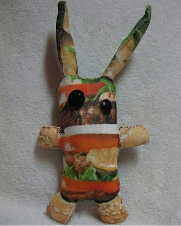 Burger Bunny Front (fabric and poly-fil)