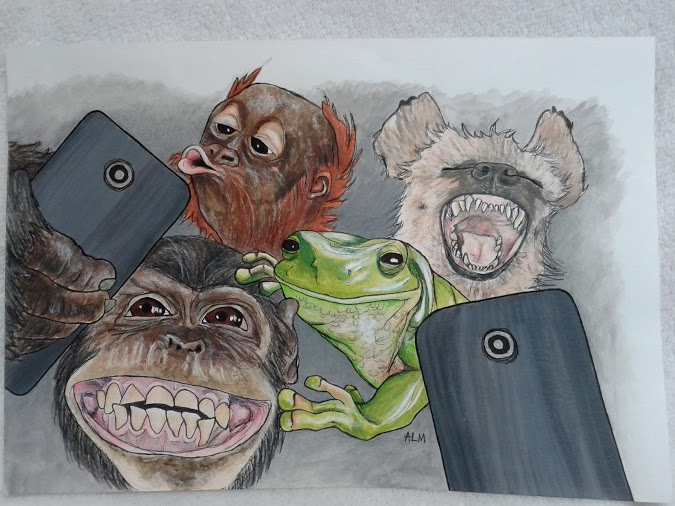 But First, Lemme Take A Selfie (colored pencil and liquid acrylics)