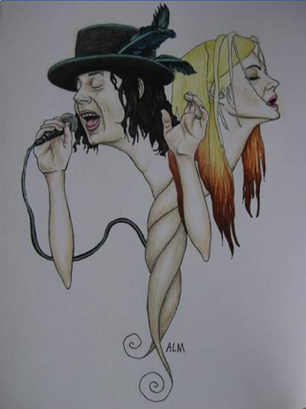 Jack White and Alison Mosshart of the Dead Weather (colored pencil and liquid acrylic).png